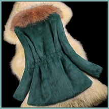 Luxury Dog Racoon Long Hair Fur Collar Mid Length Dyed Rex Rabbit Fur Coat  image 11