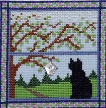 Kitty In Spring Window cross stitch chart Handblessings - $7.00