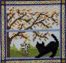 Kitty In Fall Window cross stitch chart Handblessings - $7.00