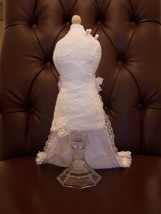 Pincushion Bridal Mannequin White Floral Lace Dress With Train Handmade ... - $29.95