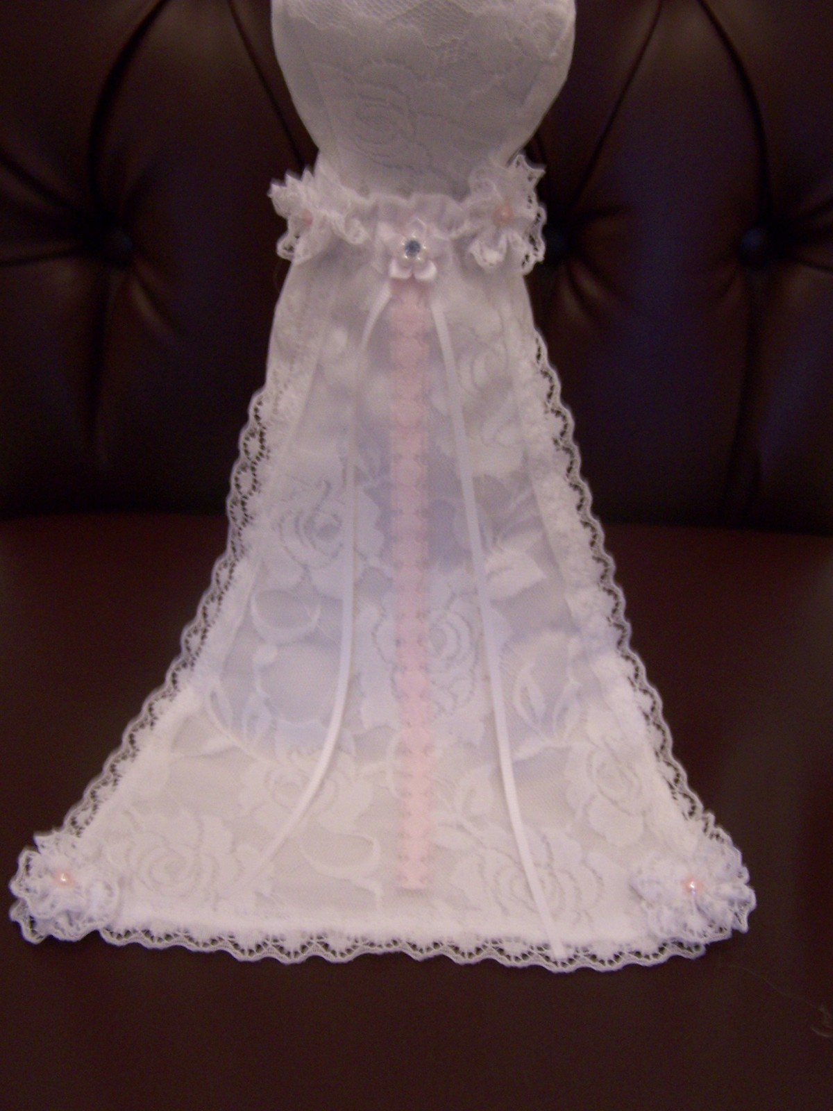 Pincushion bridal mannequin white floral lace dress with for How to ship a wedding dress usps