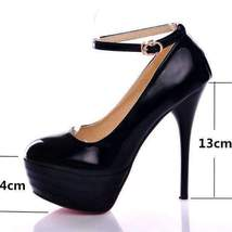 High Round Heel Pumps Toe Buckle Strap Women Fashion awgzqz