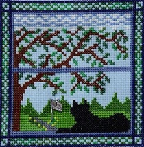Kitty In Summer Window cross stitch chart Handblessings - $7.00