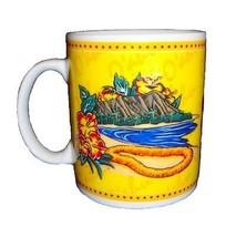 Hilo Hattie Hawaii Hawaiian Island O'ahu Yellow Ceramic Coffee Mug  - $19.78