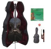 Lucky Gifts 1/4 Size BLACK Cello with Hard Case,Soft Bag,Bow,2 Sets of Strings