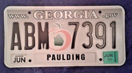 GEORGIA Peach LICENSE PLATE ABM 7391 GA state Tag MBA backside Paulding ... - $18.80