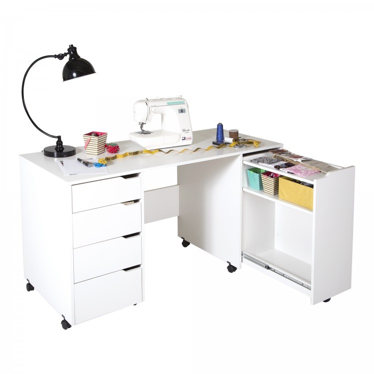 Rolling Sewing Machine Cart Table Mobile Desk Folding Drawer