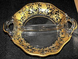 Pretty Vintage Cambridge Glass Etched Gold Encr... - $15.00