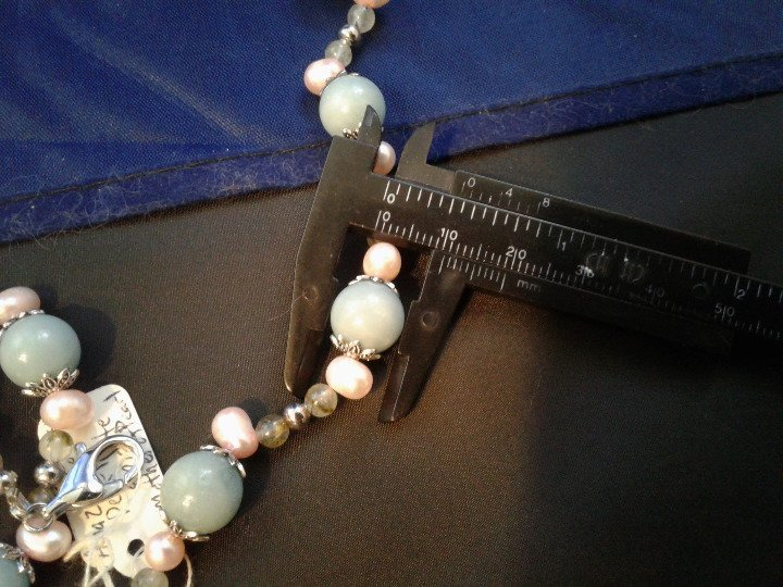 """20"""" Handmade Amazonite, Pink Pearl, and Epididote Beaded Necklace Z295"""