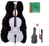 Lucky Gifts 3/4 Size WHITE Cello with Hard Case,Soft Bag,Bow,2 Sets of Strings