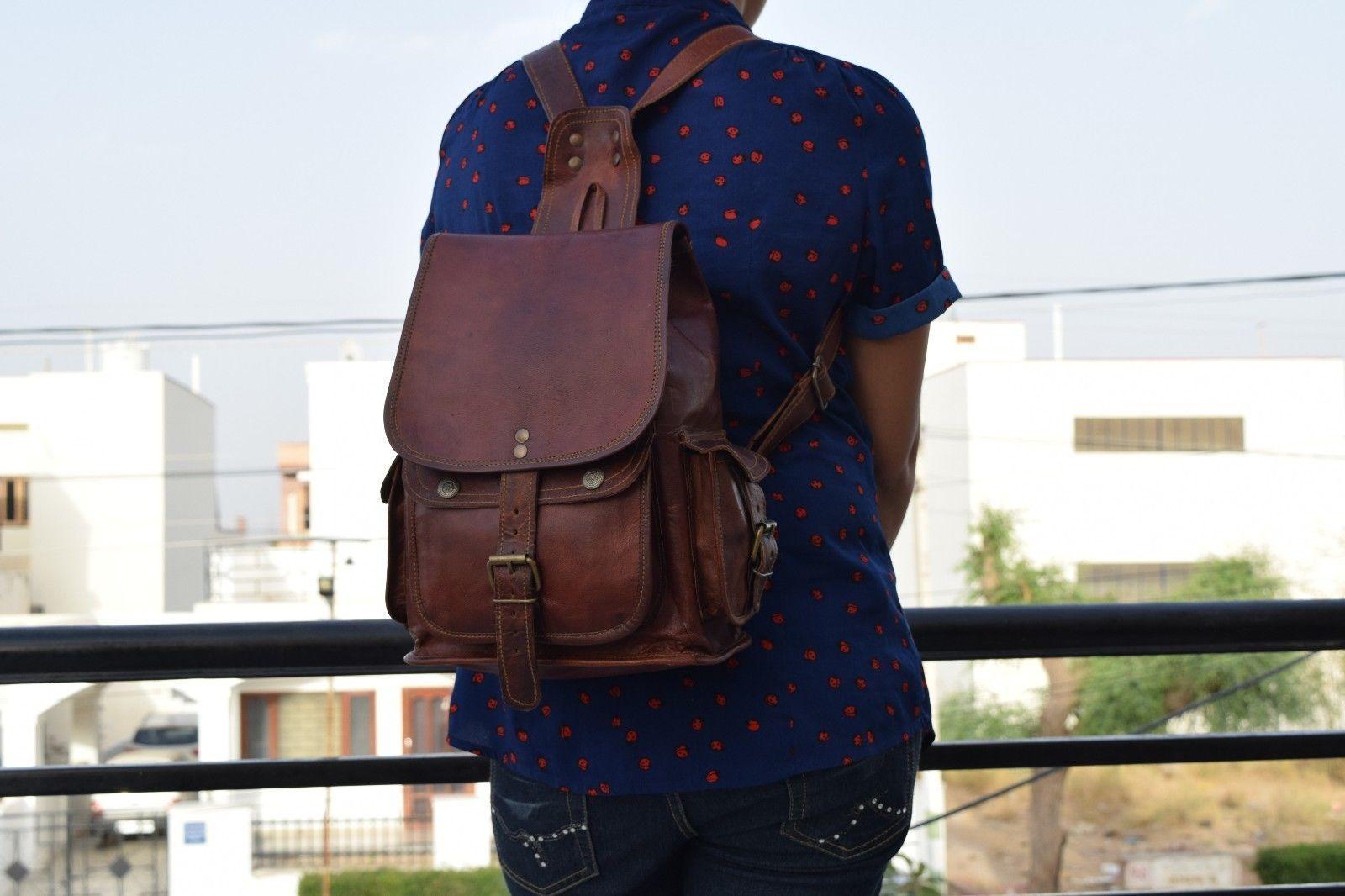 """11"""" High Handmade Real Brown Leather Backpack Shoulder Bag Rucksack Hiking Bag"""