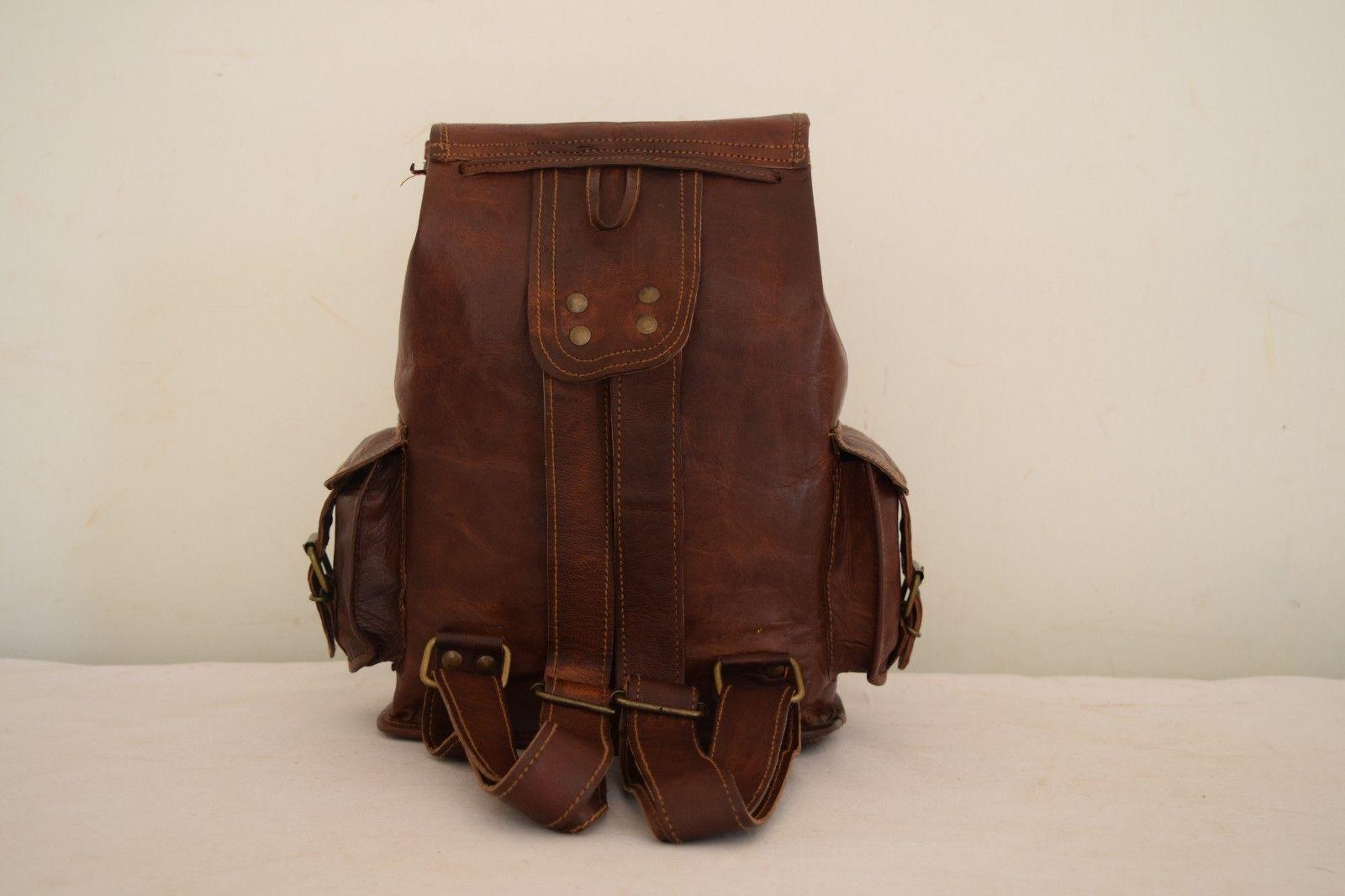 """11"""" High Handmade Real Brown Leather Backpack Shoulder Bag Rucksack Hiking Bag image 8"""