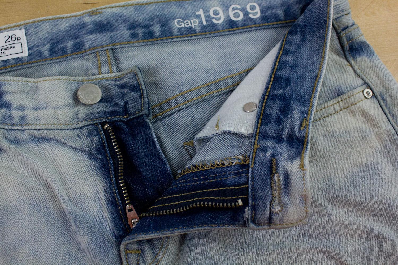 Gap 1969 Sexy Boyfriend Denim Jeans Shorts Rolled Up Hem Pipeline Wash Size 26 P
