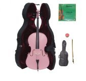 Crystalcello 4/4 Size PINK Cello with Hard Case,Soft Bag,Bow,2 Sets of Strings