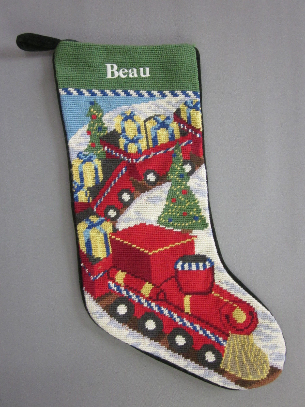 Lands End Needlepoint Christmas Stocking Beau Monogrammed