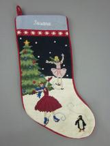 Lands End Needlepoint Christmas Stocking Ice Skaters Monogrammed Susana New - $24.70