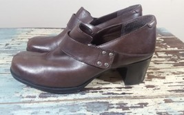 Clarks booties 7 ankle pumps brown leather harness strap - $28.04