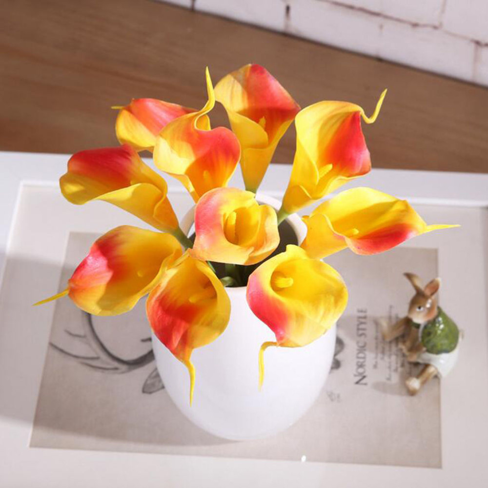 5pcs mini diy latex artificial flowers calla lily wreath for Fake flowers for crafts