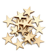 Lling 20pcs wooden stars christmas gift decor scrapbooking craft card making 3mm thick thumbtall