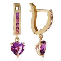 3.2 Carat 14K Solid Gold V-shape Hoop Earrings Heart Amethyst - $221.51