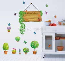 Cute Potted Flowers Butterfly Parterre DIY Wall... - $14.79