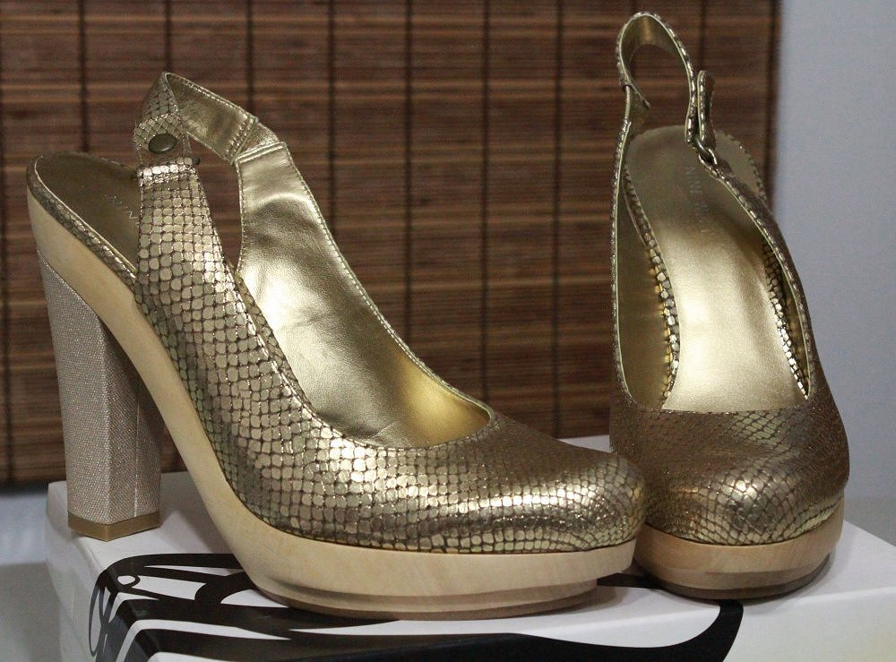 nine west chunky platform shoes gold bronze reptile heels