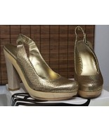 Nine West Chunky Platform Shoes Gold Bronze Reptile Heels Womens SZ 9.5 - $41.00
