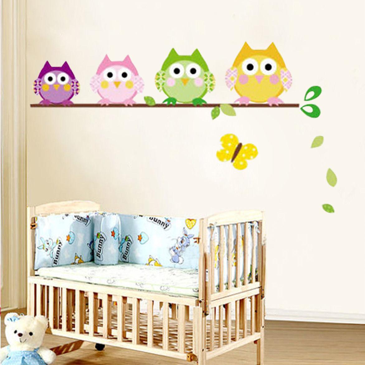 4 owls butterfly kids nursery decals wall sticker decor butterfly flower garden wall sticker for nursery school