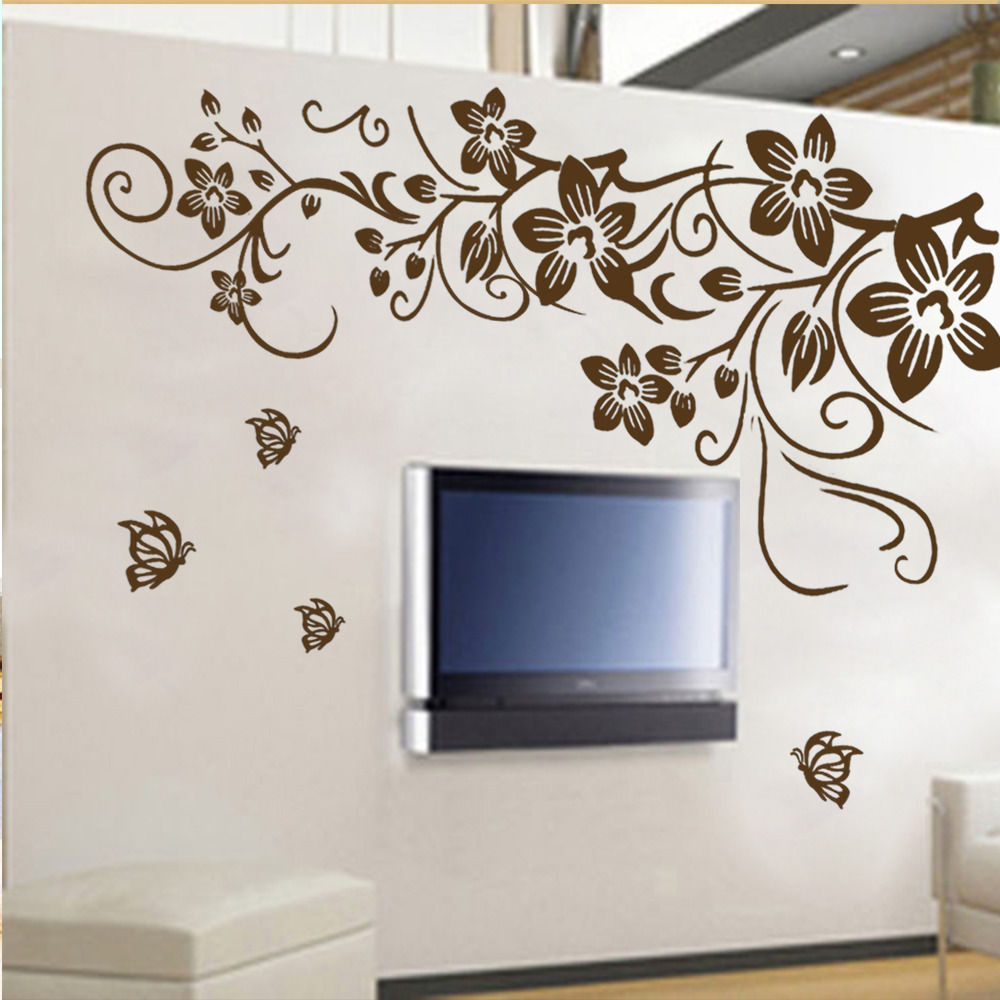 large flower amp butterfly removable pvc wall sticker home home decoration with flowers on vaporbullfl com