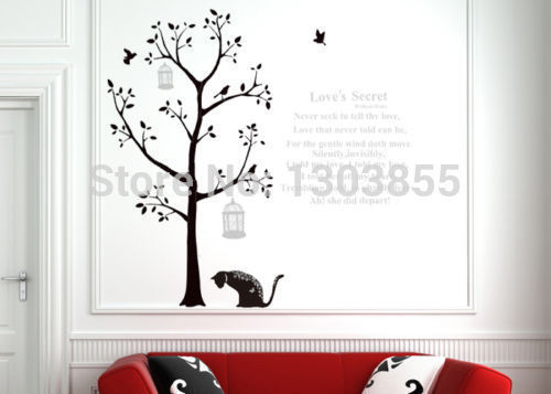 Diy black tree cat wall sticker art decal home room decor for Black tree mural