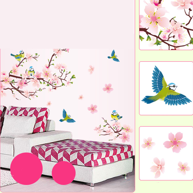 Removable decal decorative wall sticker peach blossom bird for Bird wall mural