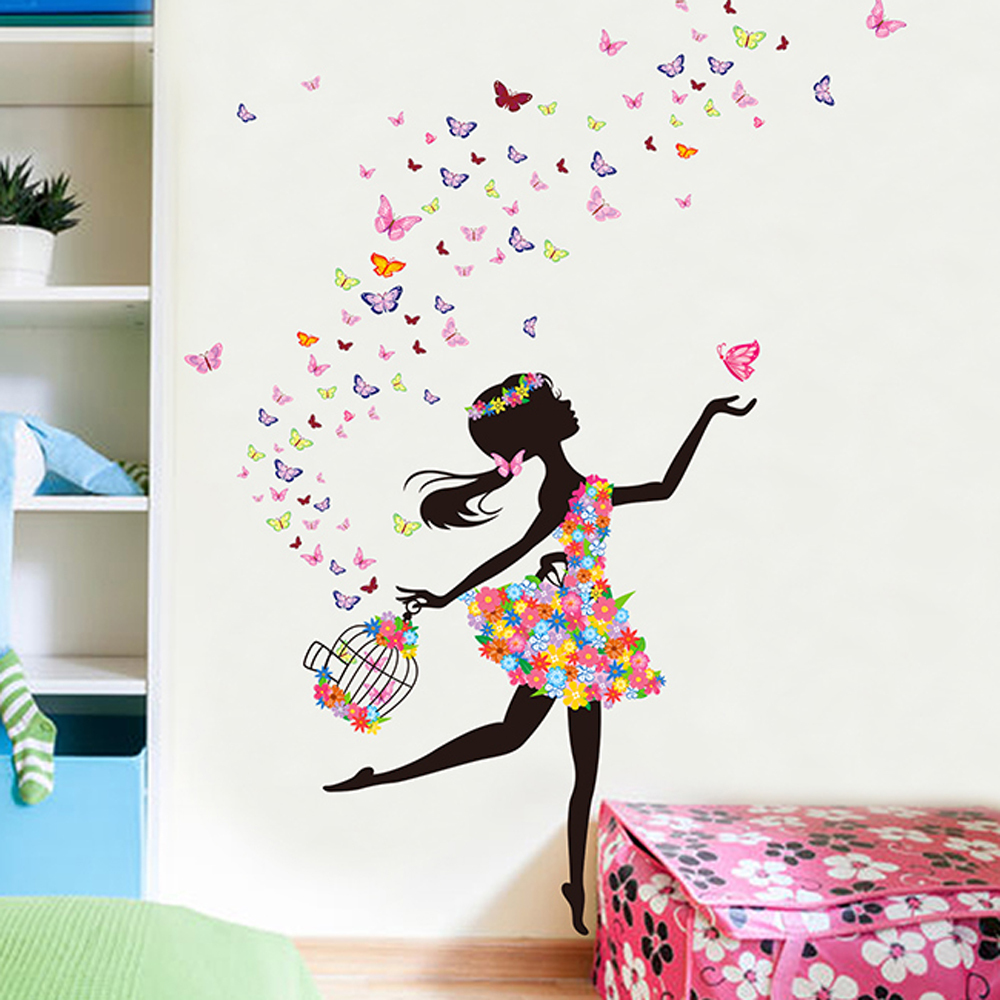 Butterfly Flower Fairy Wall Stickers For Girls Kids Bedroom Room U6802 Decals Stickers