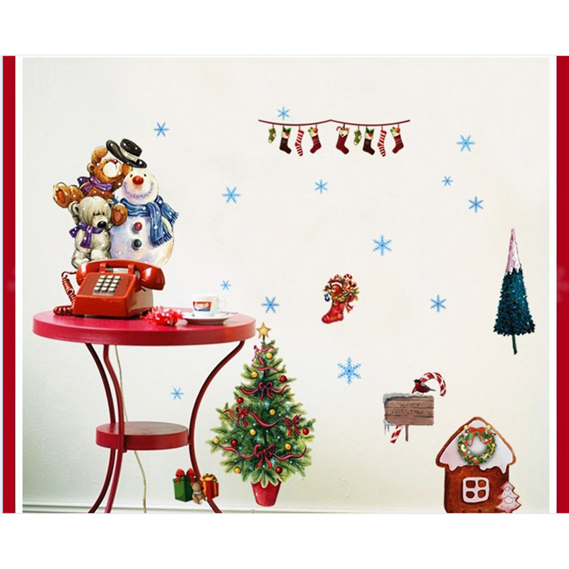 removable cartoon christmas snowman wall stickers