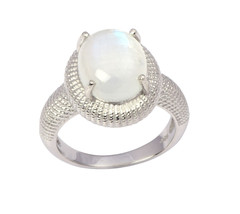 Natural Cabochon Rainbow Moonstone 925 Sterling Silver Jewelry Ring S 6 ... - £24.66 GBP