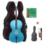 Lucky Gifts 4/4 Size BLUE Cello with Hard Case,Soft Bag,Bow,2 Sets of Strings