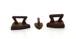 Sad Irons Miniature toy size Cast iron Ca 1880.Iron handles. 1 1/2 to 1 ... - $41.81