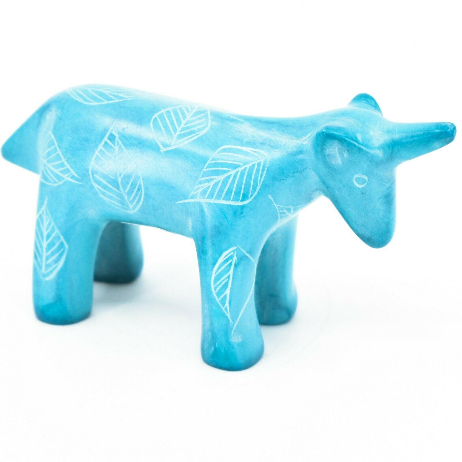 Tabaka Chigware Hand Carved Kisii Soapstone Sky Blue Unicorn Figurine Made Kenya