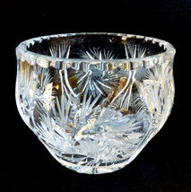 """VTG cut Crystal round bowl vase 4.25"""" pinwheel design - $44.55"""