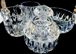 Set of 4 Clear Crystal Sigar bowl w lid creamers jam jelly bowl - $44.55