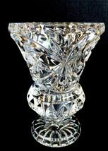 "Vintage cut Clear Crystal bud vase Pinwheel pedestal footed design 4.5"" - $38.61"
