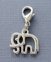 Dangle ELEPHANT Clip On Charm Lobster Clasp Fits Link Chain, floating locket C54 - $2.96