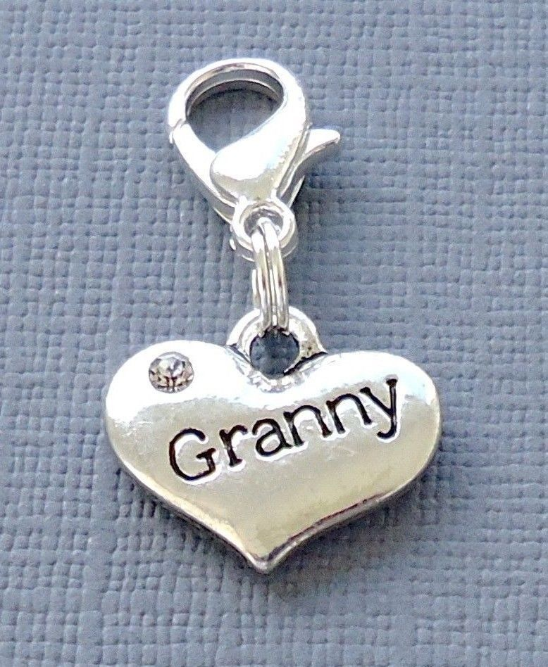 1 pc Dangle GRANNY Heart Clip On Charm with Lobster Clasp for Link Chain C165