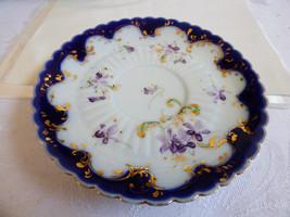 VTG porcelain saucer plate cobalt blue gold violets flowers design - $13.86
