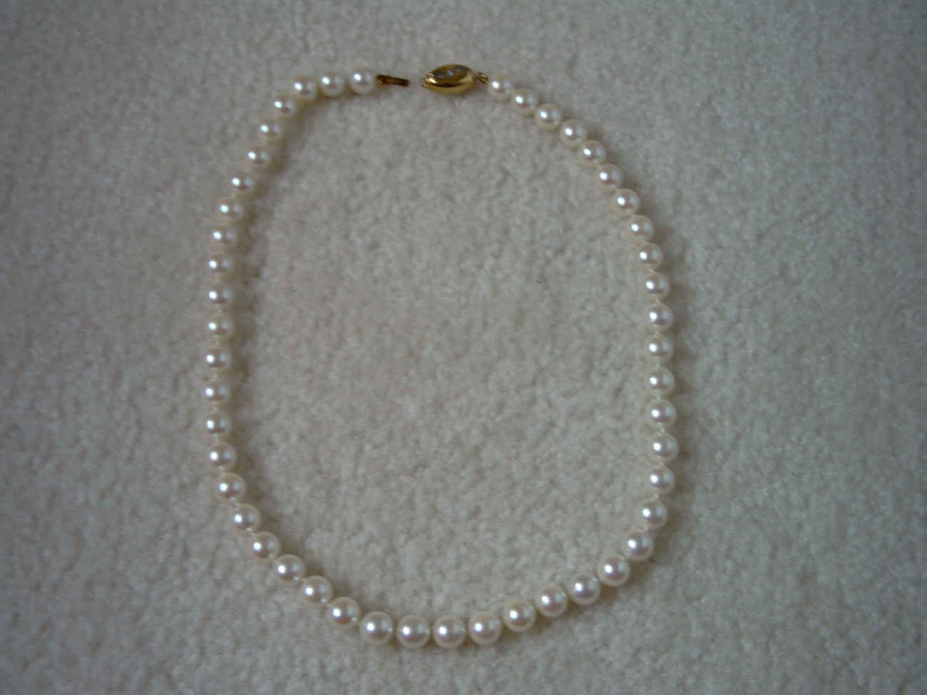 GENUINE WHITE PEARL 16 IN, 7 MM NECKLACE