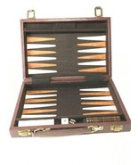 Travel Backgammon Set Magnetic Vintage Leather Marbled Pieces - Incomplete - $29.69