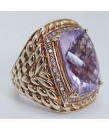 Vintage 14K Yellow Gold Large Amethyst Diamonds... - $1,960.20