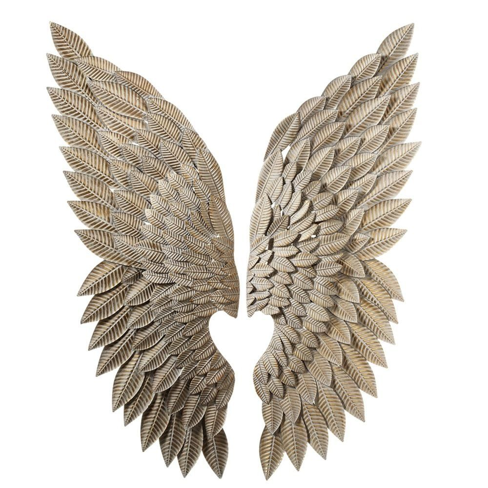 Angel wings iron wall sculpture decor chic shabby french for Angel wings wall decoration