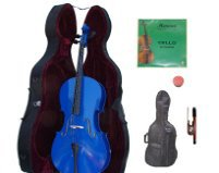 Lucky Gifts 3/4 Size BLUE Cello with Hard Case,Soft Bag,Bow,2 Sets of Strings