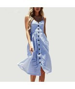 Striped Dress Women Summer Spaghetti Strap Beach Casual V-Neck Bohemian ... - $479,33 MXN
