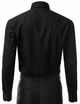 Berlioni Italy Men's Premium French Convertible Cuff Solid Dress Shirt Black image 3